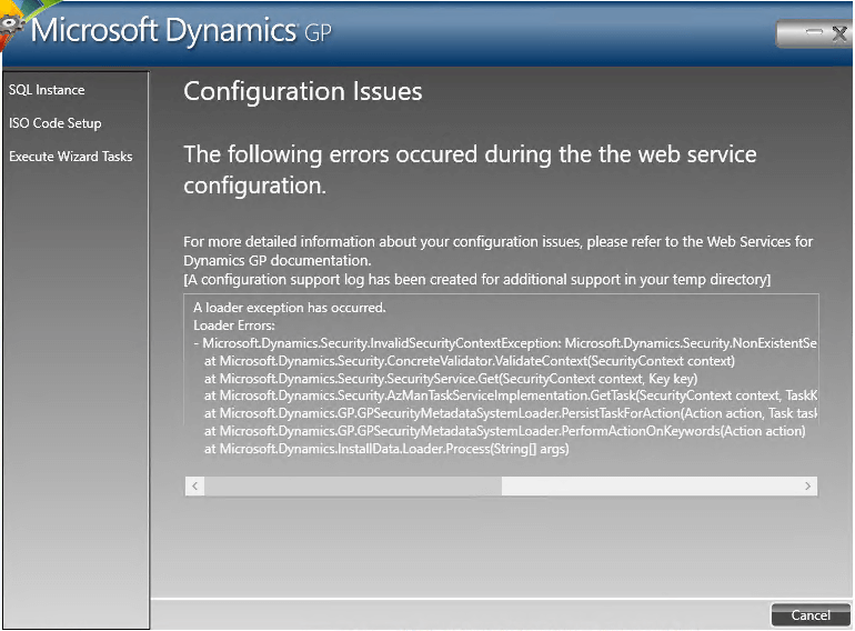 Security object error upgrading Web Services