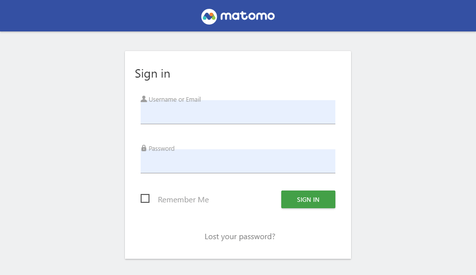 Matomo sign in page