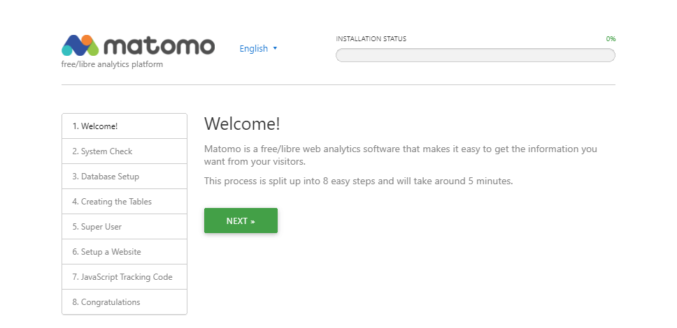 Welcome! page of the Matomo installation process