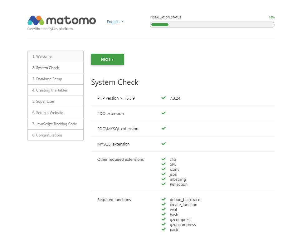 System check page