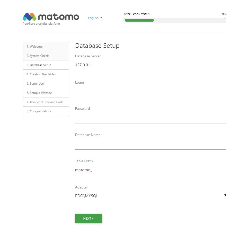 Database setup page