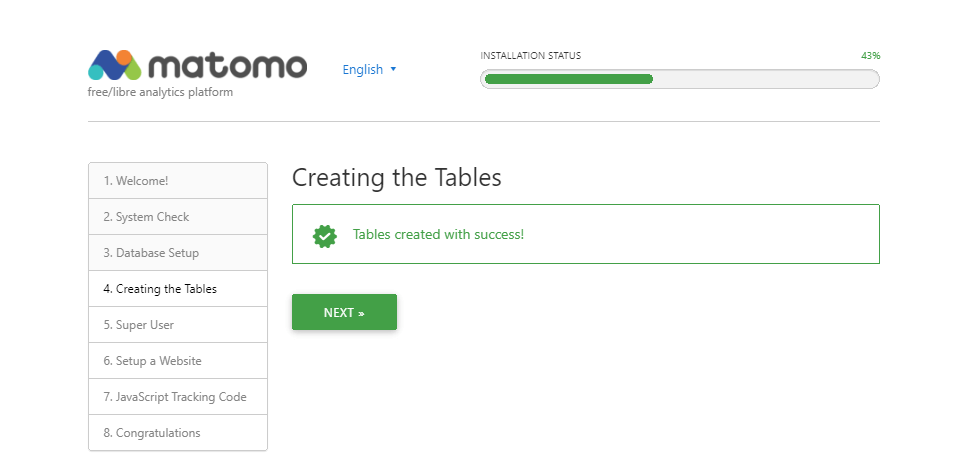 Creating the Tables page confirming tables have been created successfully