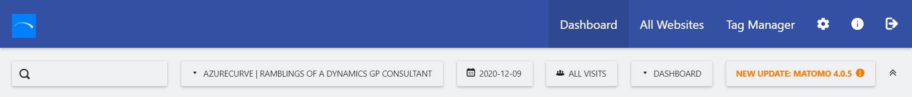 Matomo dashboard showing the update button