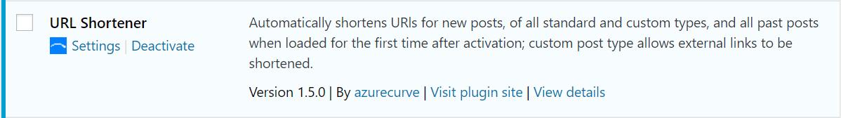URL Shortener action link