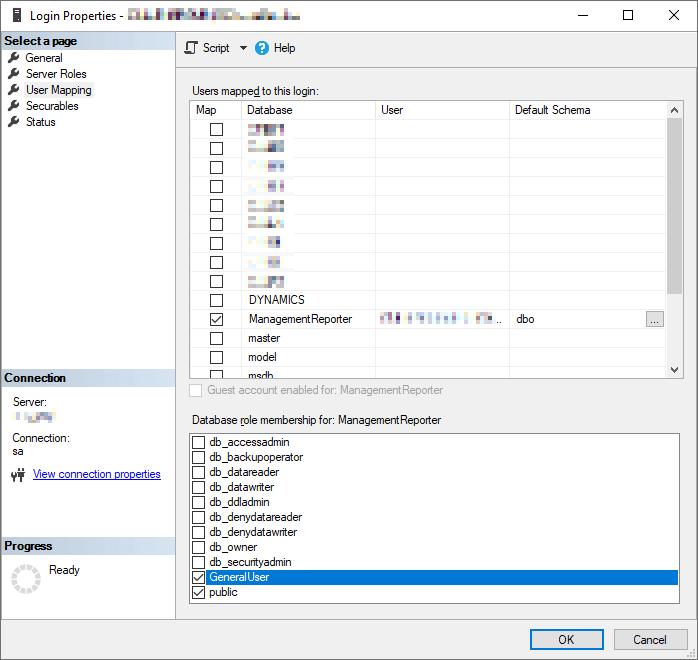 SSMS Login Properties window showing User Mapping