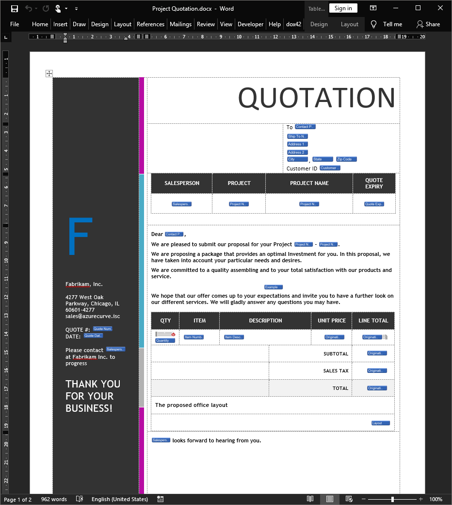 Quotation document template in Microsoft Word