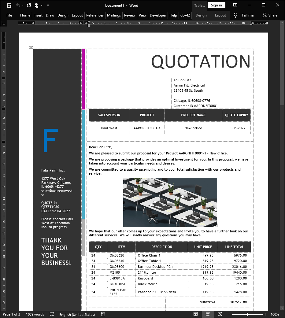 Quotation document in Microsoft Word
