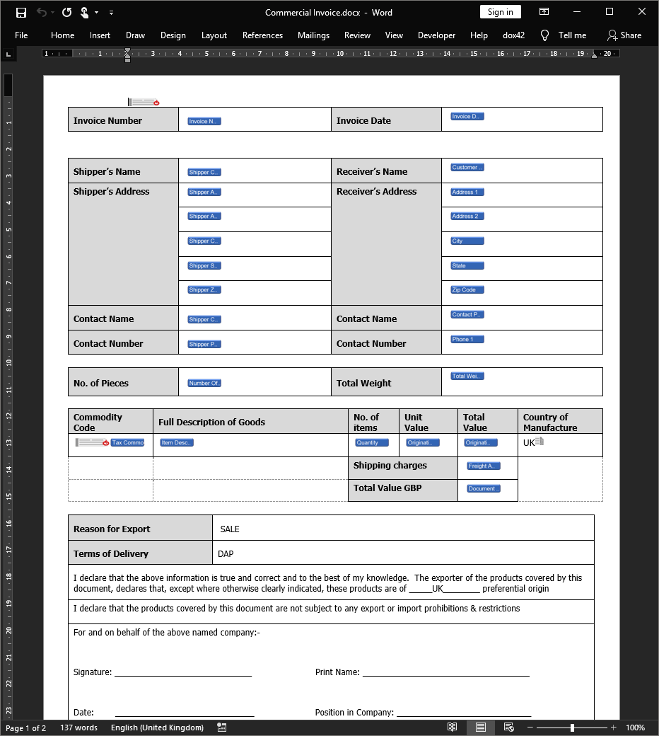 Commercial Invoice document template in Microsoft Word