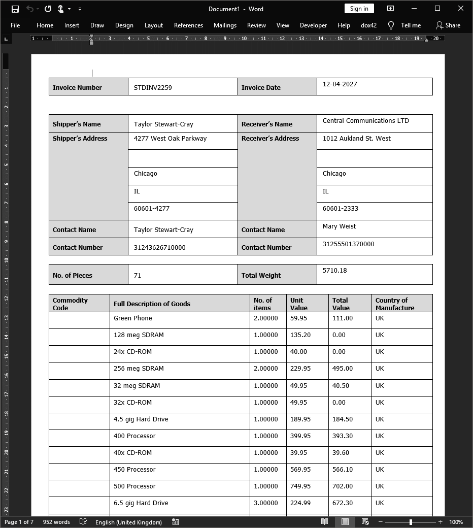 Commercial Invoice output in PDF